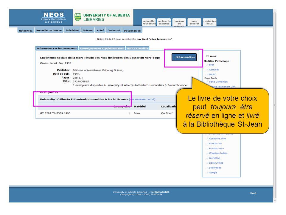 Le livre de votre choix peut toujours être réservé en ligne et livré à la Bibliothèque St-Jean Le livre de votre choix peut toujours être réservé en ligne et livré à la Bibliothèque St-Jean