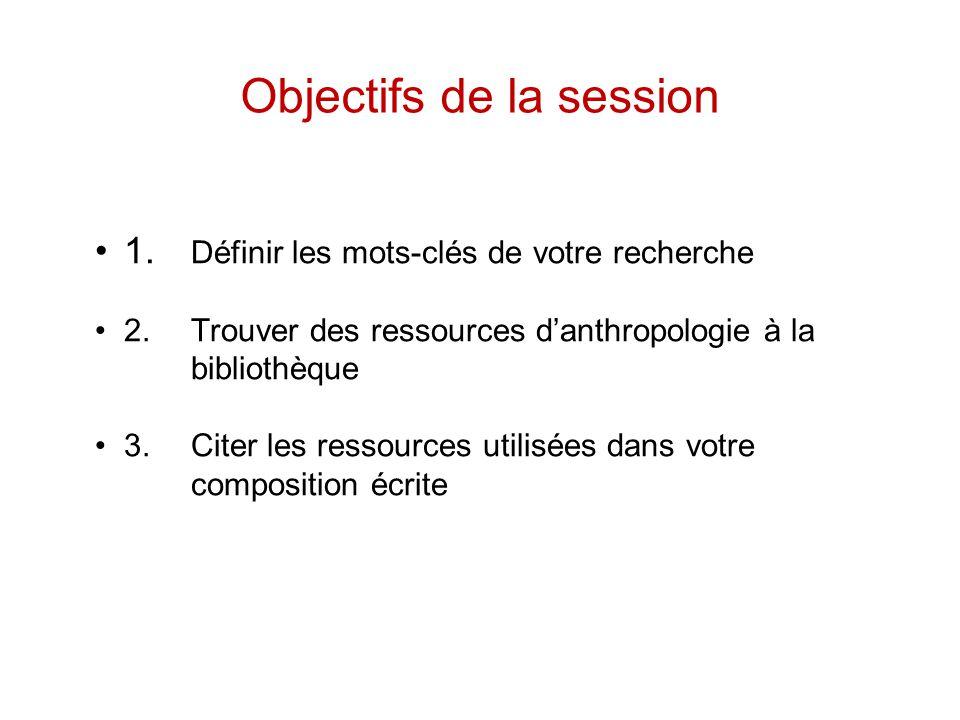 Objectifs de la session 1.