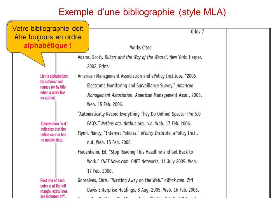 Exemple dune bibliographie (style MLA) Votre bibliographie doit être toujours en ordre alphabétique .
