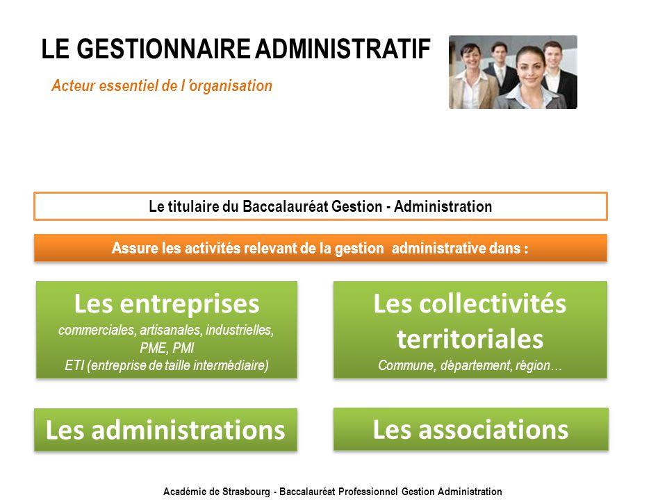 Académie de Strasbourg - Baccalauréat Professionnel Gestion Administration LE GESTIONNAIRE ADMINISTRATIF Acteur essentiel de lorganisation Le titulair