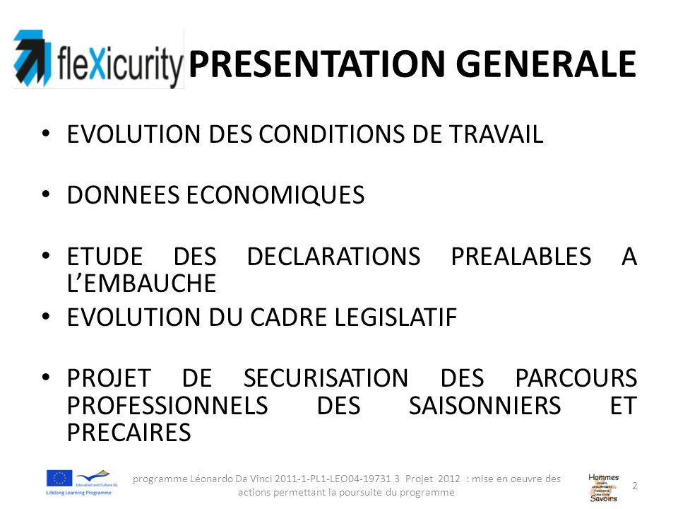 PRESENTATION GENERALE EVOLUTION DES CONDITIONS DE TRAVAIL DONNEES ECONOMIQUES ETUDE DES DECLARATIONS PREALABLES A LEMBAUCHE EVOLUTION DU CADRE LEGISLATIF PROJET DE SECURISATION DES PARCOURS PROFESSIONNELS DES SAISONNIERS ET PRECAIRES programme Léonardo Da Vinci 2011-1-PL1-LEO04-19731 3 Projet 2012 : mise en oeuvre des actions permettant la poursuite du programme 2