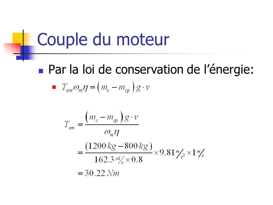 Couple du moteur Par la loi de conservation de lénergie: