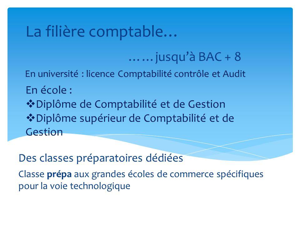 La filière comptable… ……jusquà BAC + 8 En université : licence Comptabilité contrôle et Audit En école : Diplôme de Comptabilité et de Gestion Diplôme