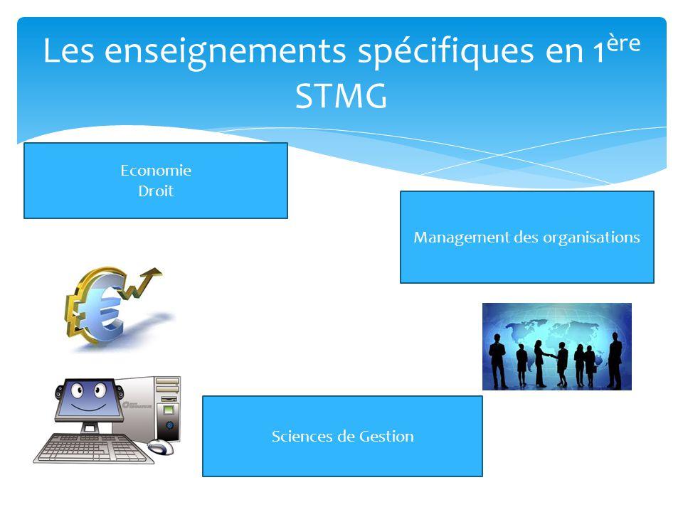 Les enseignements spécifiques en 1 ère STMG Sciences de Gestion Management des organisations Economie Droit