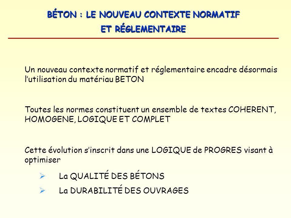 BÉTON : LE NOUVEAU CONTEXTE NORMATIF ET RÉGLEMENTAIRE NORMES SUR LES CONSTITUANTS CIMENT NF EN 197-1 CIMENT ALUMINEUX FONDU NF P 15-315 CIMENT PROMPT NATUREL NF P 15-314 CIMENT POUR TRAVAUX A LA MER NF P 15-317 CIMENT POUR TRAVAUX EN EAUX A HAUTE TENEUR EN SULFATE XP P 15-319 FUMÉE DE SILICE NF EN 13263 LAITIER DE HAUT FOURNEAU NF P 18-506 CENDRES VOLANTES NF EN 450 ADDITIONS CALCAIRES NF P 18-508 ADJUVANTS NF EN 934-2 GRANULATS NF EN 12620 (XP P 18-545) PIGMENTS DE COLORATION NF EN 12878 EAU DE GACHAGE NF EN 1008