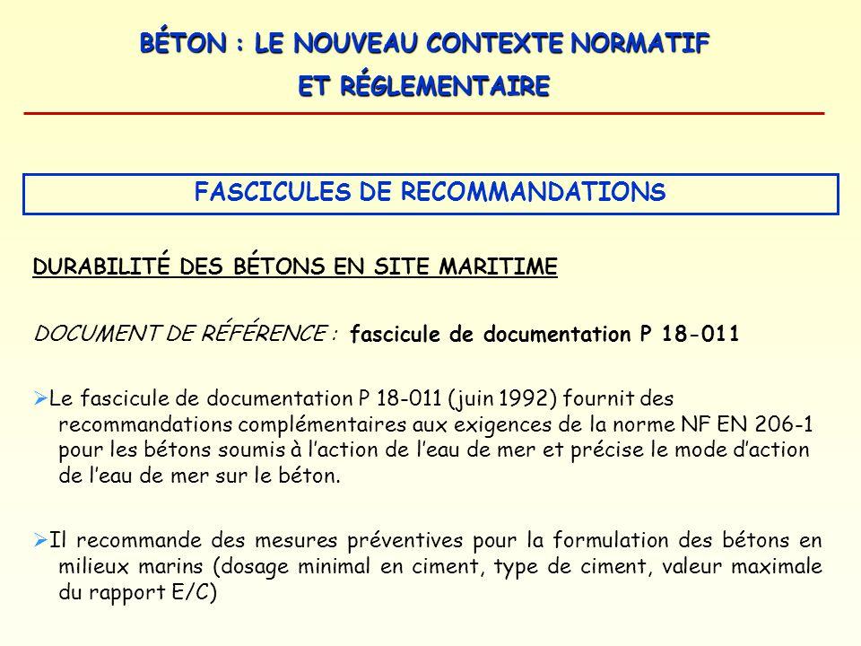 BÉTON : LE NOUVEAU CONTEXTE NORMATIF ET RÉGLEMENTAIRE DURABILITÉ DES BÉTONS EN SITE MARITIME DOCUMENT DE RÉFÉRENCE : fascicule de documentation P 18-0
