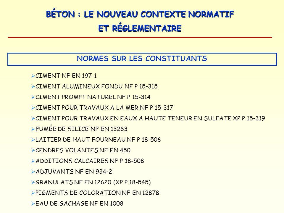 BÉTON : LE NOUVEAU CONTEXTE NORMATIF ET RÉGLEMENTAIRE NORMES ET DOCUMENTS DEXÉCUTION FASCICULES DE RECOMMANDATIONS NORMES DE DIMENSIONNEMENT EUROCODES NORMES SUR LES CONSTITUANTS NORMES DESSAIS SUR BÉTON FRAIS ET BÉTON DURCI