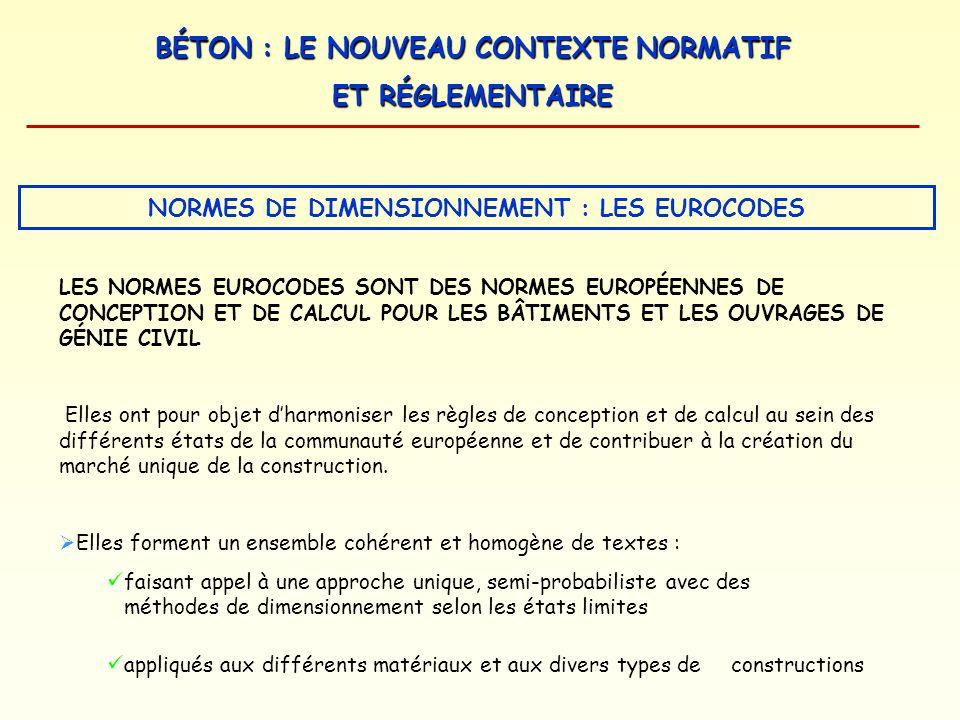BÉTON : LE NOUVEAU CONTEXTE NORMATIF ET RÉGLEMENTAIRE NORMES DE DIMENSIONNEMENT : LES EUROCODES LES NORMES EUROCODES SONT DES NORMES EUROPÉENNES DE CO