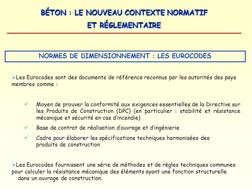 BÉTON : LE NOUVEAU CONTEXTE NORMATIF ET RÉGLEMENTAIRE Les Eurocodes sont des documents de référence reconnus par les autorités des pays membres comme