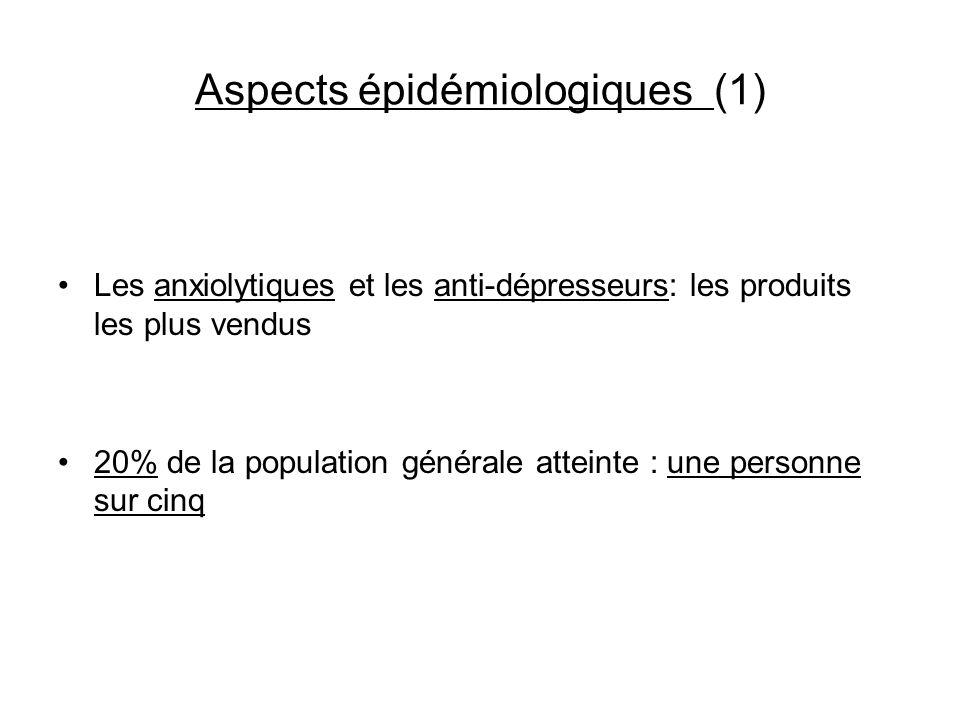 Aspects épidémiologiques (1) Les anxiolytiques et les anti-dépresseurs: les produits les plus vendus 20% de la population générale atteinte : une pers