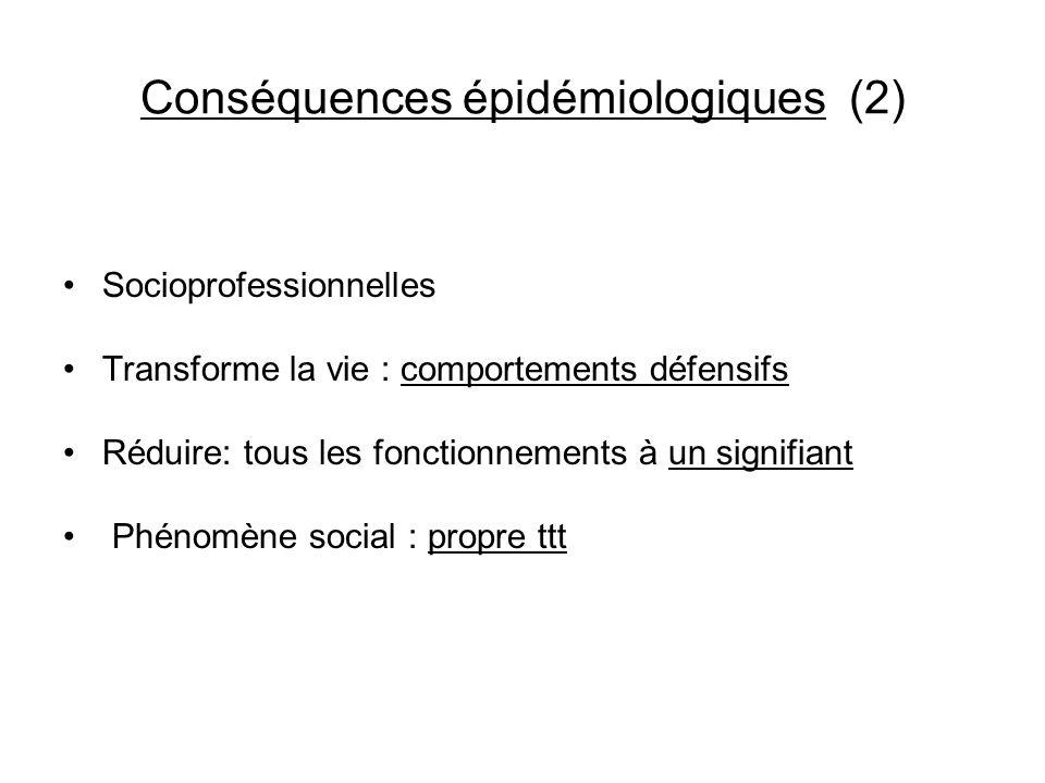 Conséquences épidémiologiques (2) Socioprofessionnelles Transforme la vie : comportements défensifs Réduire: tous les fonctionnements à un signifiant