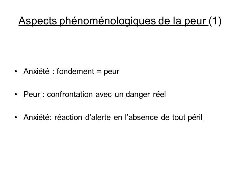 Aspects phénoménologiques de la peur (1) Anxiété : fondement = peur Peur : confrontation avec un danger réel Anxiété: réaction dalerte en labsence de