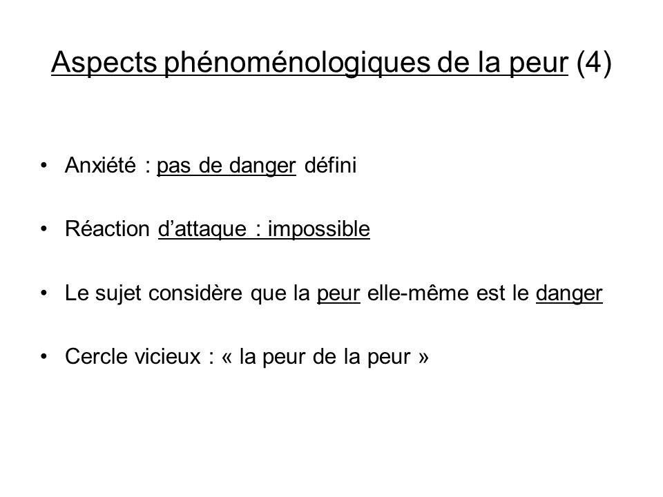 Aspects phénoménologiques de la peur (4) Anxiété : pas de danger défini Réaction dattaque : impossible Le sujet considère que la peur elle-même est le