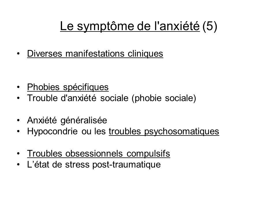 Le symptôme de l'anxiété (5) Diverses manifestations cliniques Phobies spécifiques Trouble d'anxiété sociale (phobie sociale) Anxiété généralisée Hypo