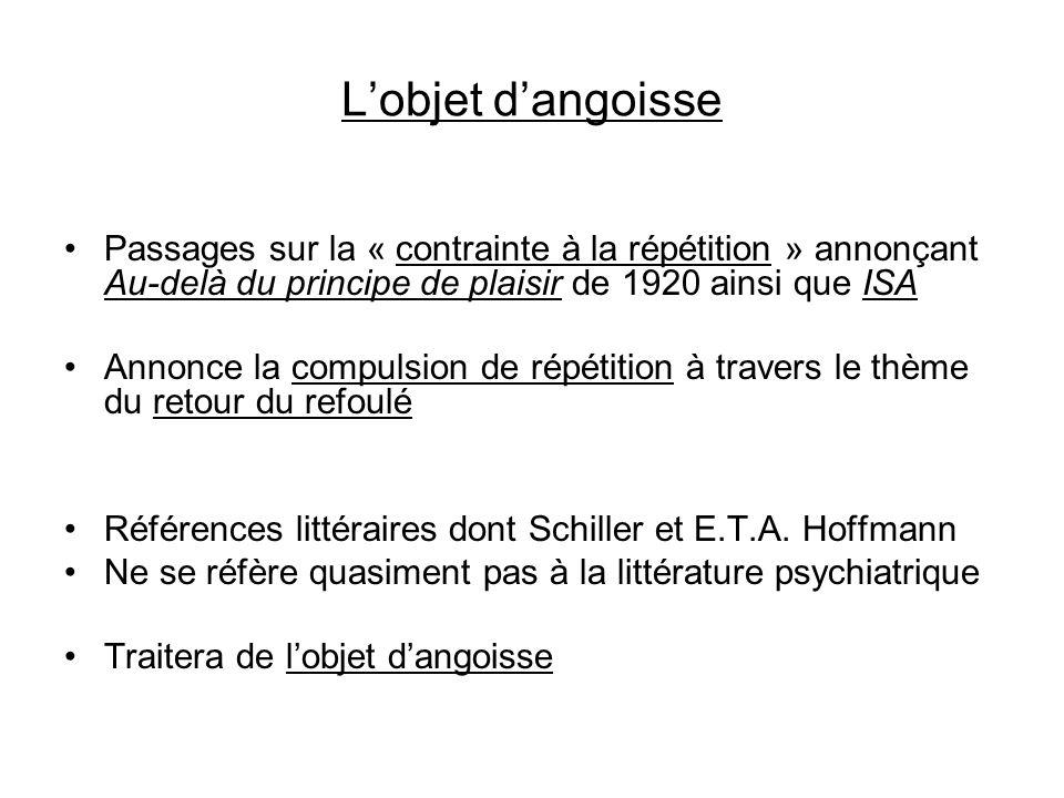 Lobjet dangoisse Passages sur la « contrainte à la répétition » annonçant Au-delà du principe de plaisir de 1920 ainsi que ISA Annonce la compulsion d