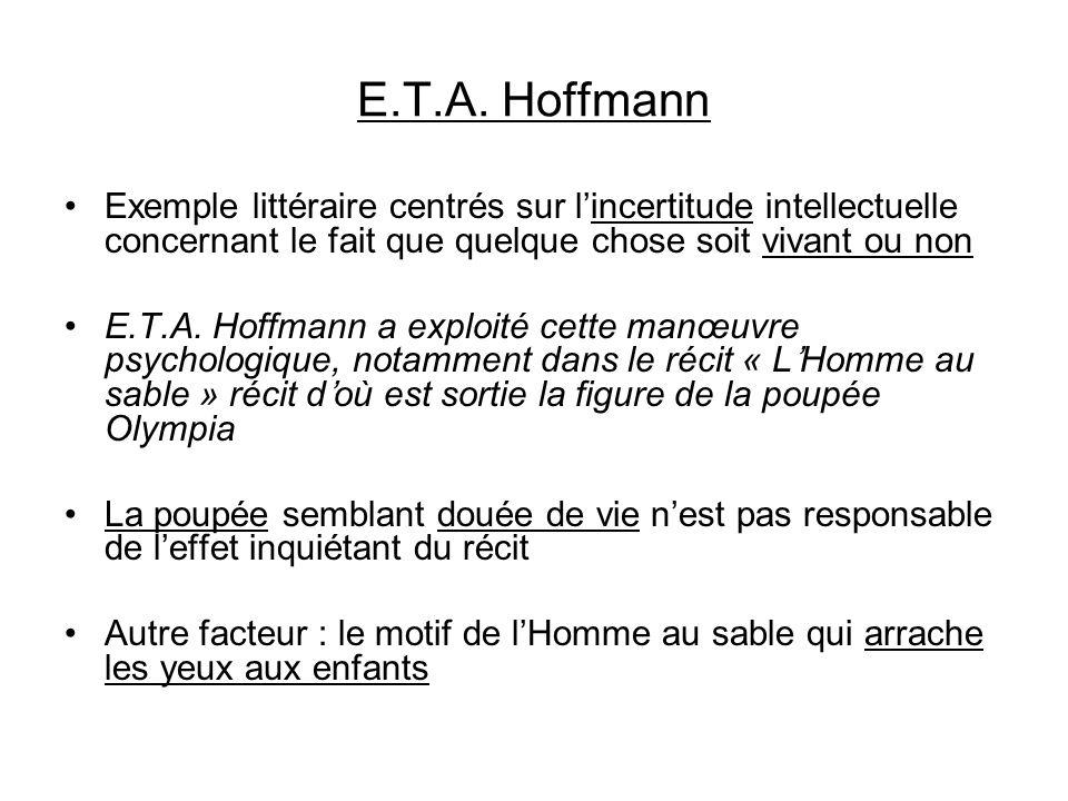E.T.A. Hoffmann Exemple littéraire centrés sur lincertitude intellectuelle concernant le fait que quelque chose soit vivant ou non E.T.A. Hoffmann a e