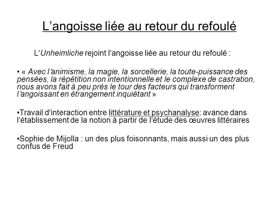 Langoisse liée au retour du refoulé LUnheimliche rejoint langoisse liée au retour du refoulé : « Avec lanimisme, la magie, la sorcellerie, la toute-pu