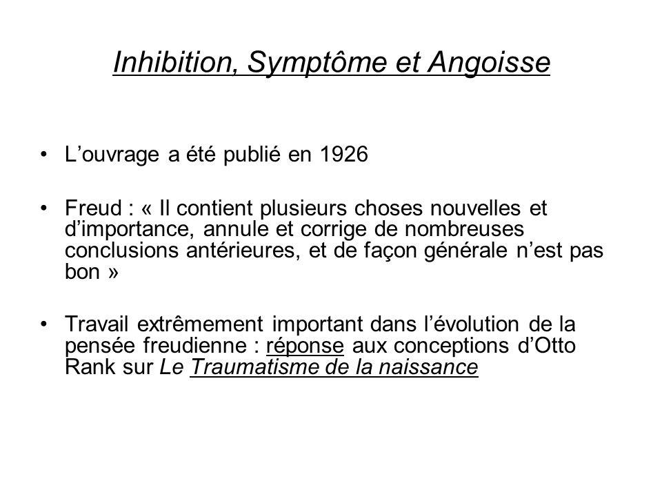 Louvrage a été publié en 1926 Freud : « Il contient plusieurs choses nouvelles et dimportance, annule et corrige de nombreuses conclusions antérieures