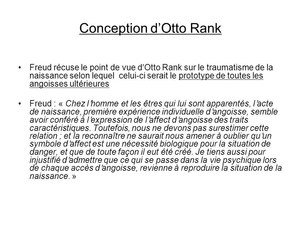 Conception dOtto Rank Freud récuse le point de vue dOtto Rank sur le traumatisme de la naissance selon lequel celui-ci serait le prototype de toutes l