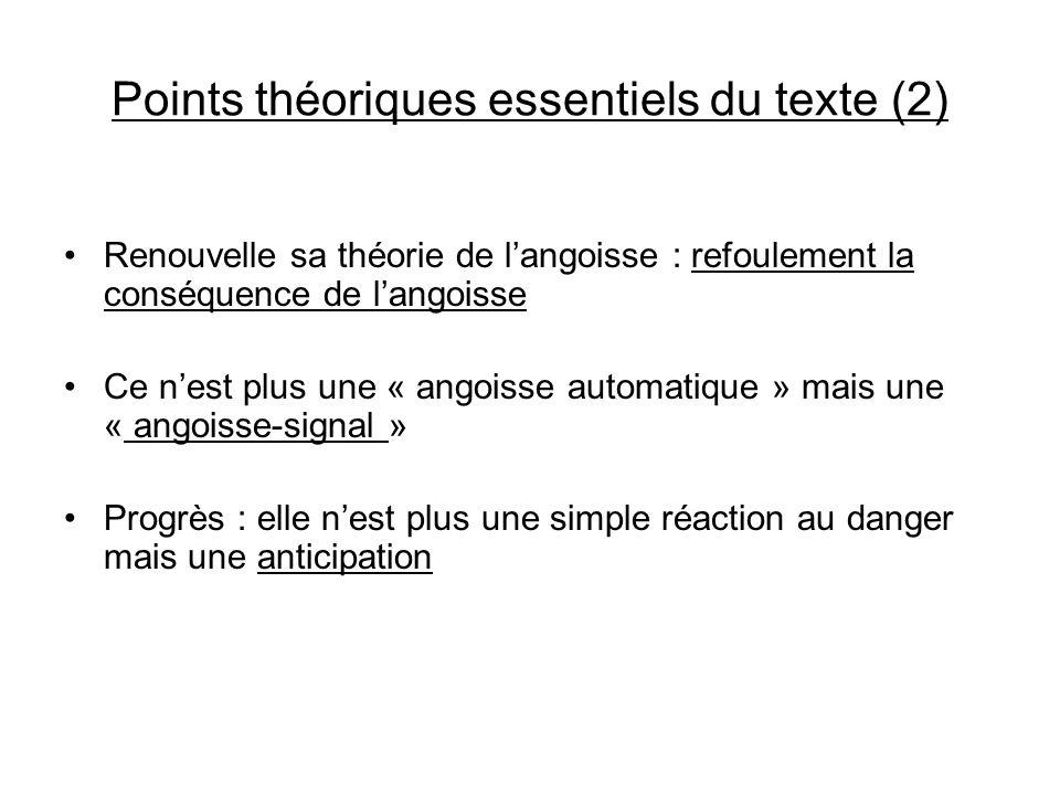 Points théoriques essentiels du texte (2) Renouvelle sa théorie de langoisse : refoulement la conséquence de langoisse Ce nest plus une « angoisse aut