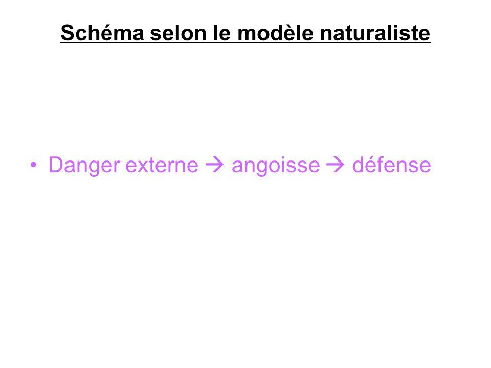 Schéma selon le modèle naturaliste Danger externe angoisse défense