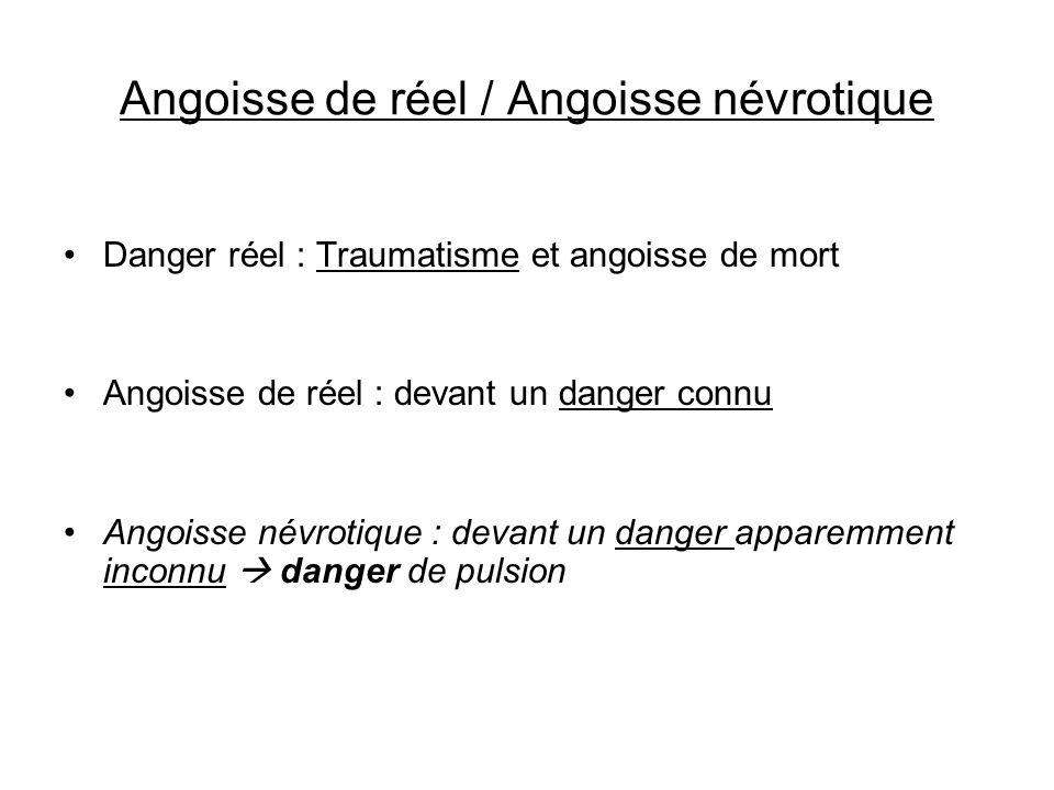 Angoisse de réel / Angoisse névrotique Danger réel : Traumatisme et angoisse de mort Angoisse de réel : devant un danger connu Angoisse névrotique : d