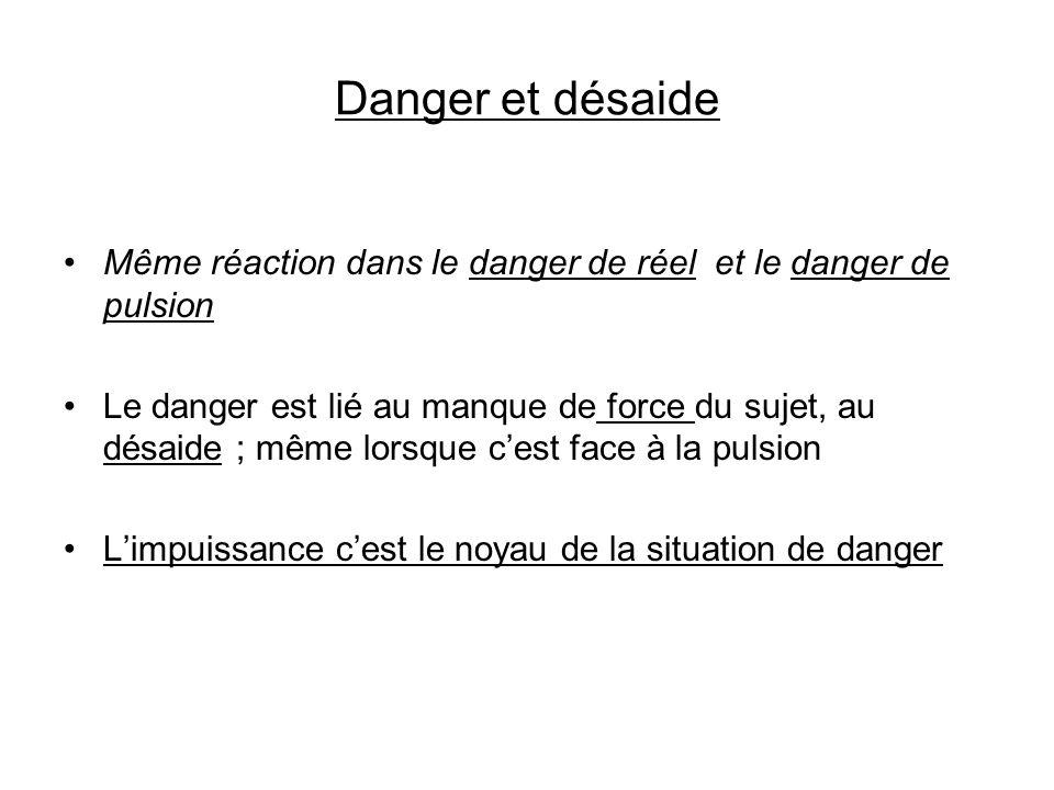 Danger et désaide Même réaction dans le danger de réel et le danger de pulsion Le danger est lié au manque de force du sujet, au désaide ; même lorsqu