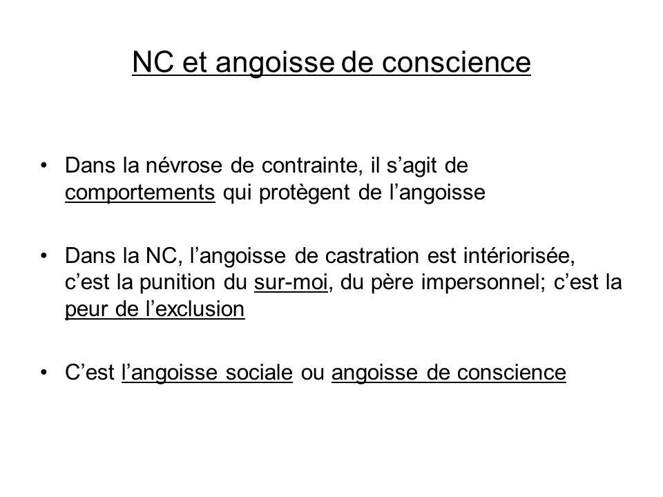 NC et angoisse de conscience Dans la névrose de contrainte, il sagit de comportements qui protègent de langoisse Dans la NC, langoisse de castration e
