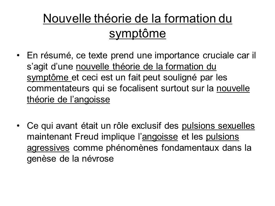 Nouvelle théorie de la formation du symptôme En résumé, ce texte prend une importance cruciale car il sagit dune nouvelle théorie de la formation du s