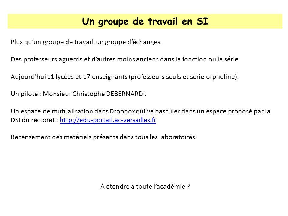 Un groupe de travail en SI Plus quun groupe de travail, un groupe déchanges. Des professeurs aguerris et dautres moins anciens dans la fonction ou la