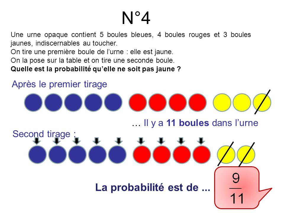 N°4 La probabilité est de... Une urne opaque contient 5 boules bleues, 4 boules rouges et 3 boules jaunes, indiscernables au toucher. On tire une prem