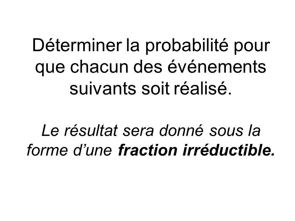 Déterminer la probabilité pour que chacun des événements suivants soit réalisé. Le résultat sera donné sous la forme dune fraction irréductible.
