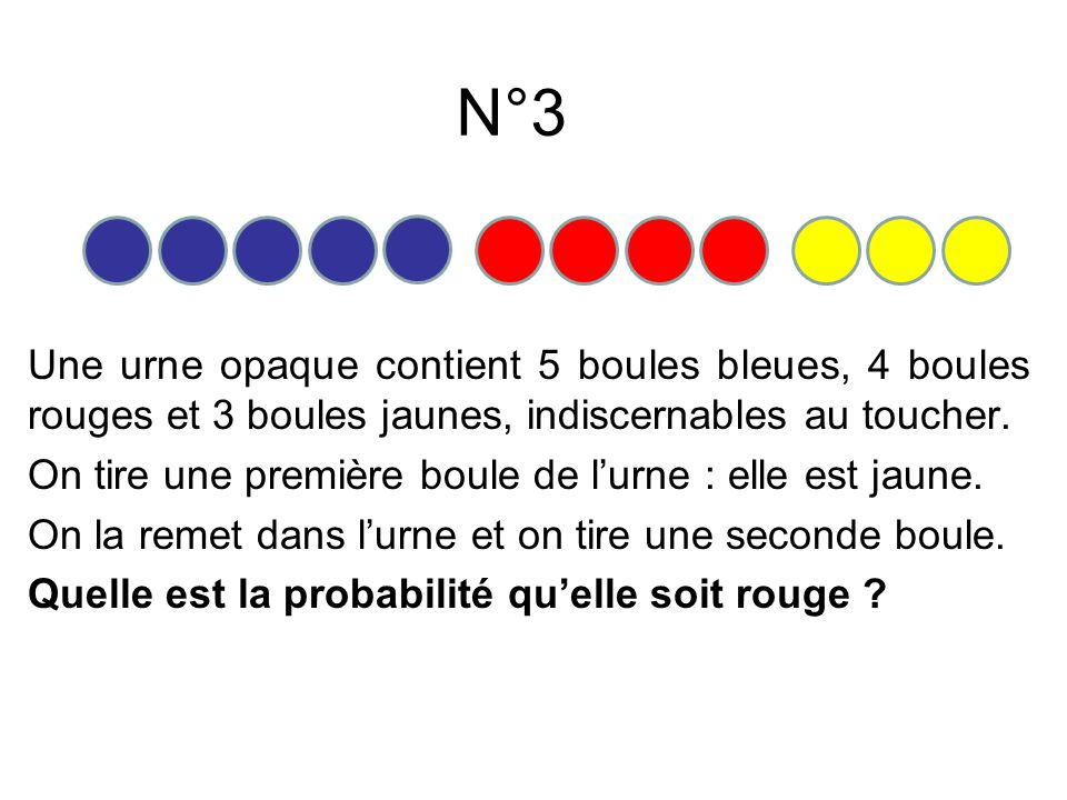 N°3 Une urne opaque contient 5 boules bleues, 4 boules rouges et 3 boules jaunes, indiscernables au toucher. On tire une première boule de lurne : ell