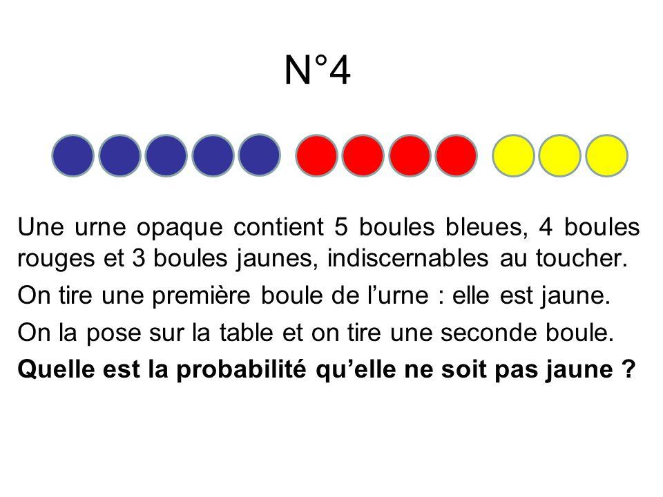 Une urne opaque contient 5 boules bleues, 4 boules rouges et 3 boules jaunes, indiscernables au toucher. On tire une première boule de lurne : elle es