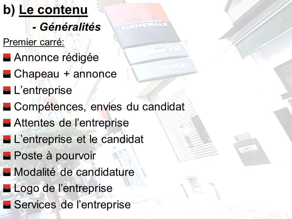 b) Le contenu - Généralités Premier carré: Annonce rédigée Chapeau + annonce Lentreprise Compétences, envies du candidat Attentes de lentreprise Lentr
