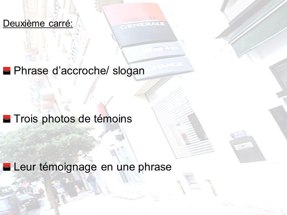 Deuxième carré: Phrase daccroche/ slogan Trois photos de témoins Leur témoignage en une phrase
