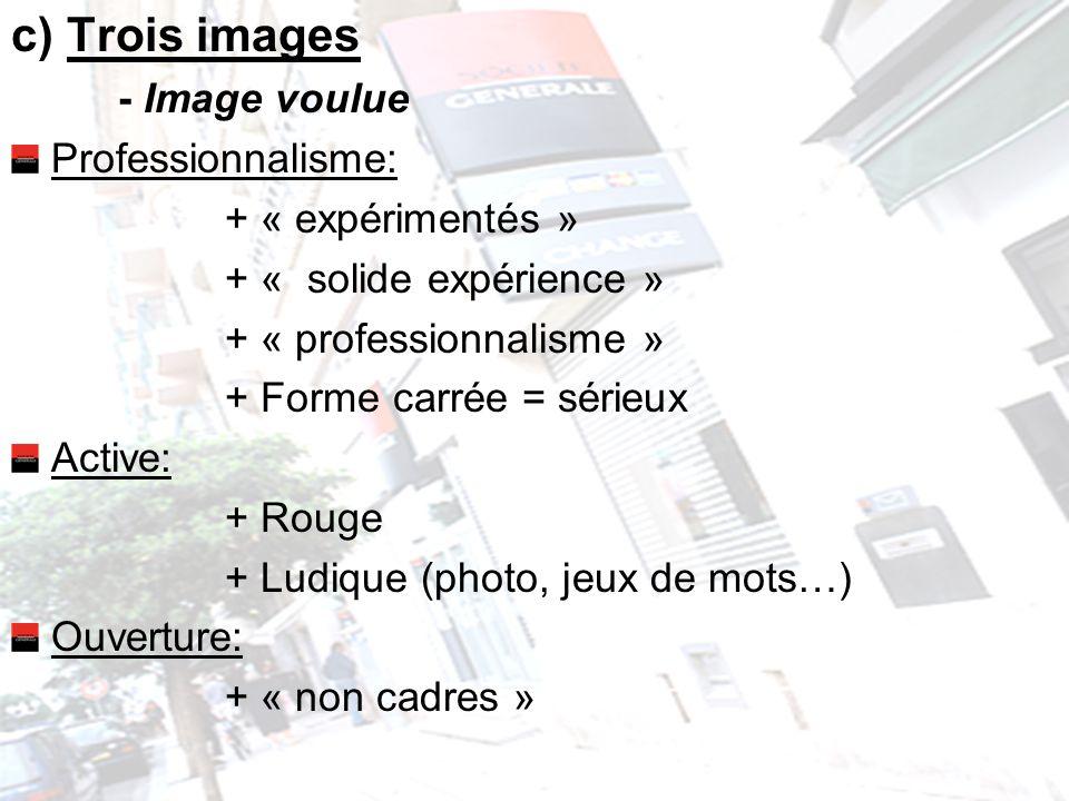 c) Trois images - Image voulue Professionnalisme: + « expérimentés » + « solide expérience » + « professionnalisme » + Forme carrée = sérieux Active: + Rouge + Ludique (photo, jeux de mots…) Ouverture: + « non cadres »