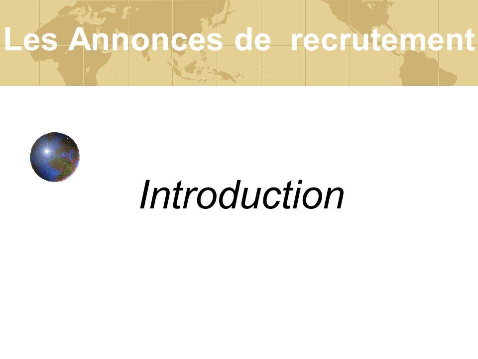 Introduction Les Annonces de recrutement