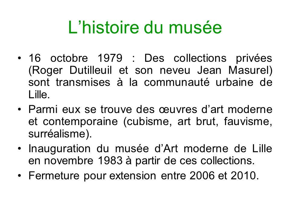 Lhistoire du musée 16 octobre 1979 : Des collections privées (Roger Dutilleuil et son neveu Jean Masurel) sont transmises à la communauté urbaine de L