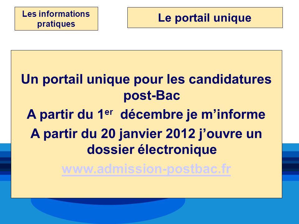 Les informations pratiques Un portail unique pour les candidatures post-Bac A partir du 1 er décembre je minforme A partir du 20 janvier 2012 jouvre u