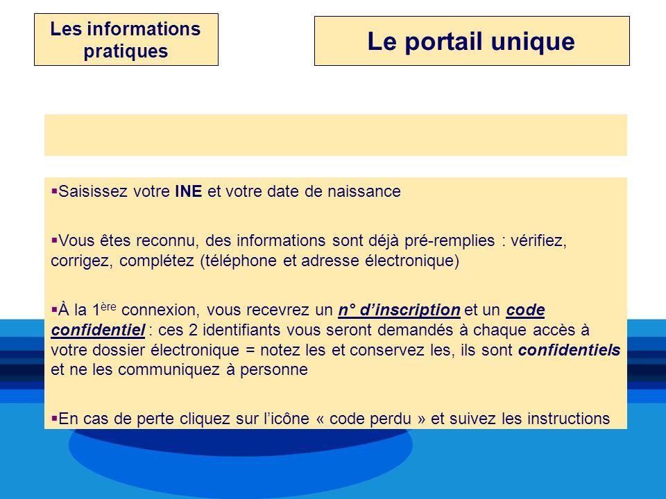 Les informations pratiques Le portail unique Saisie des renseignementsSaisie des renseignements Saisissez votre INE et votre date de naissance Vous êt