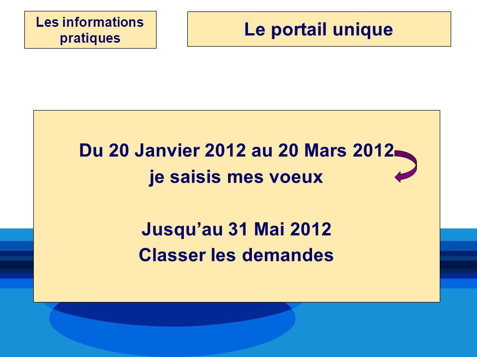 Les informations pratiques Du 20 Janvier 2012 au 20 Mars 2012 je saisis mes voeux Jusquau 31 Mai 2012 Classer les demandes Le portail unique