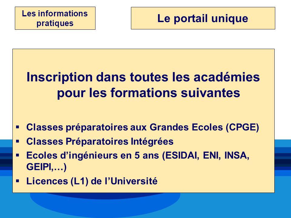 Les informations pratiques Inscription dans toutes les académies pour les formations suivantes Classes préparatoires aux Grandes Ecoles (CPGE) Classes