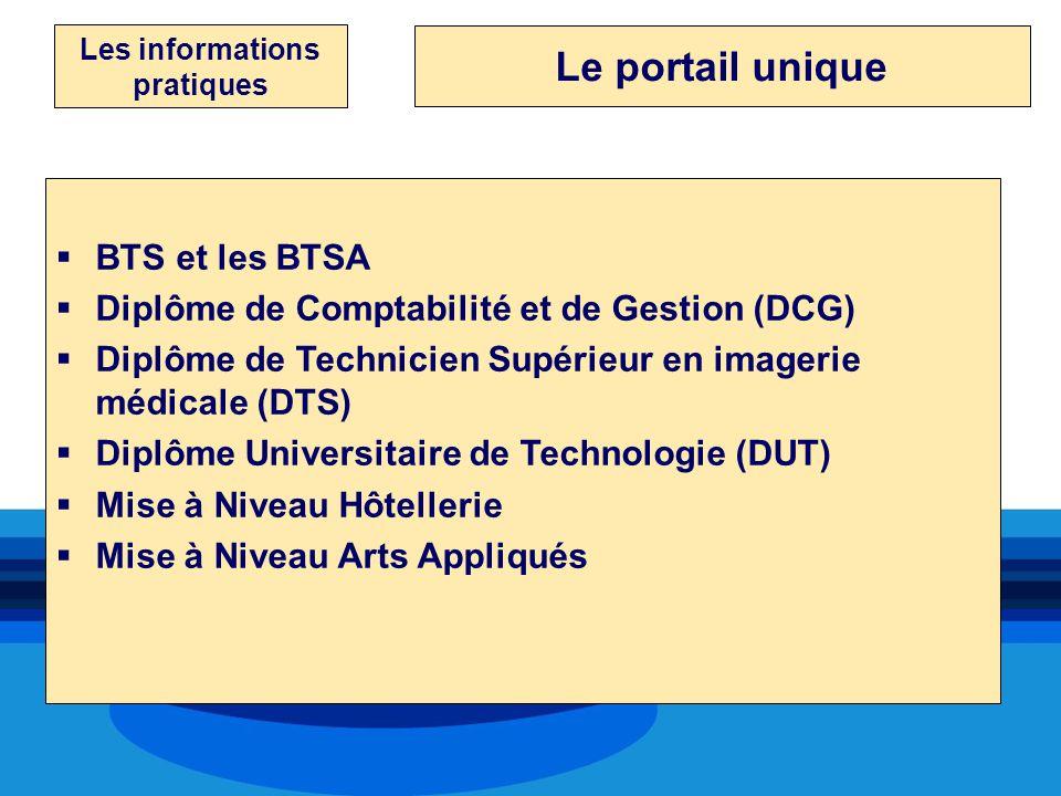 Les informations pratiques BTS et les BTSA Diplôme de Comptabilité et de Gestion (DCG) Diplôme de Technicien Supérieur en imagerie médicale (DTS) Dipl