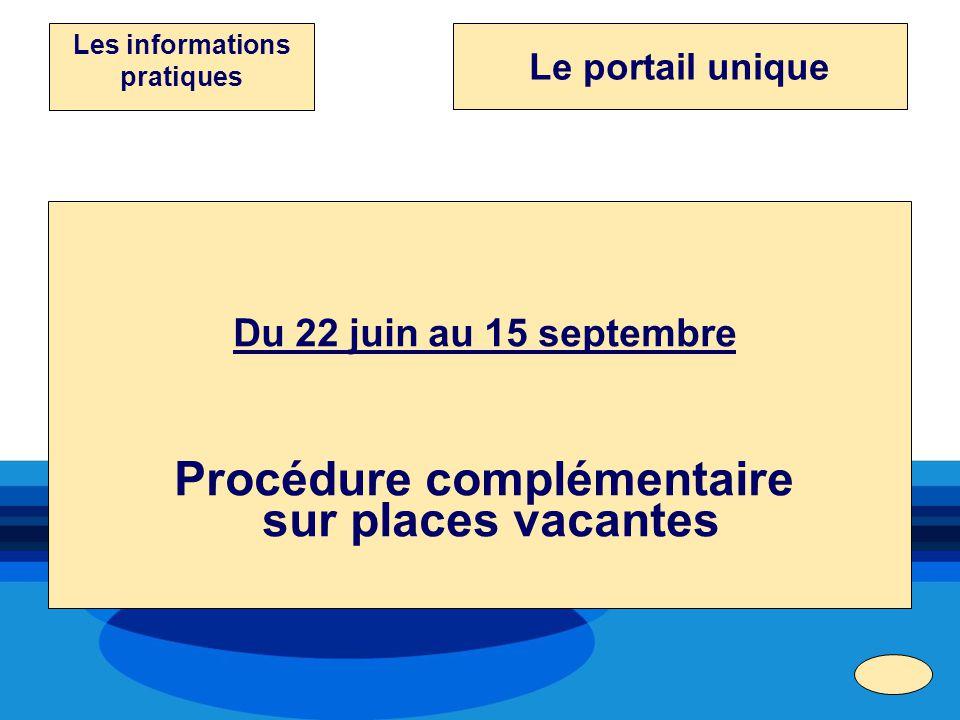 Du 22 juin au 15 septembre Procédure complémentaire sur places vacantes Les informations pratiques Le portail unique