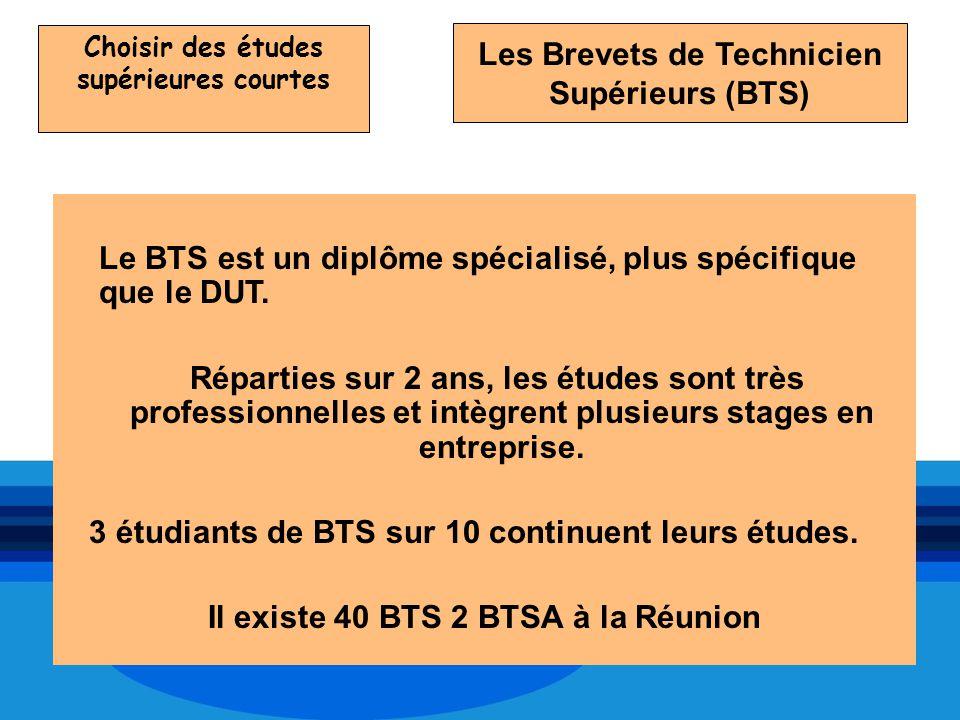 Choisir des études supérieures courtes Le BTS est un diplôme spécialisé, plus spécifique que le DUT. Réparties sur 2 ans, les études sont très profess