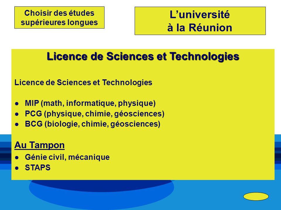 Choisir des études supérieures longues Licence de Sciences et Technologies MIP (math, informatique, physique) PCG (physique, chimie, géosciences) BCG