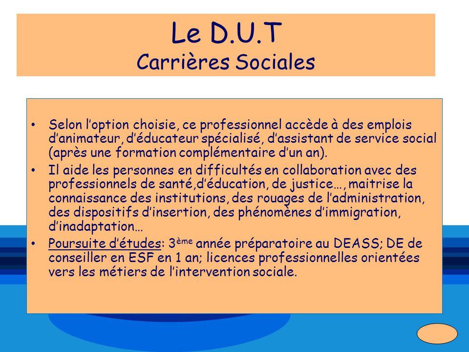 Le D.U.T Carrières Sociales Selon loption choisie, ce professionnel accède à des emplois danimateur, déducateur spécialisé, dassistant de service soci