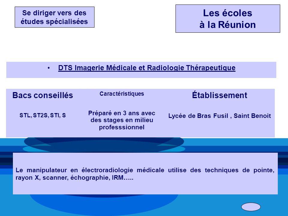 DTS Imagerie Médicale et Radiologie Thérapeutique Bacs conseillés STL, ST2S, STI, S Caractéristiques Préparé en 3 ans avec des stages en milieu profes