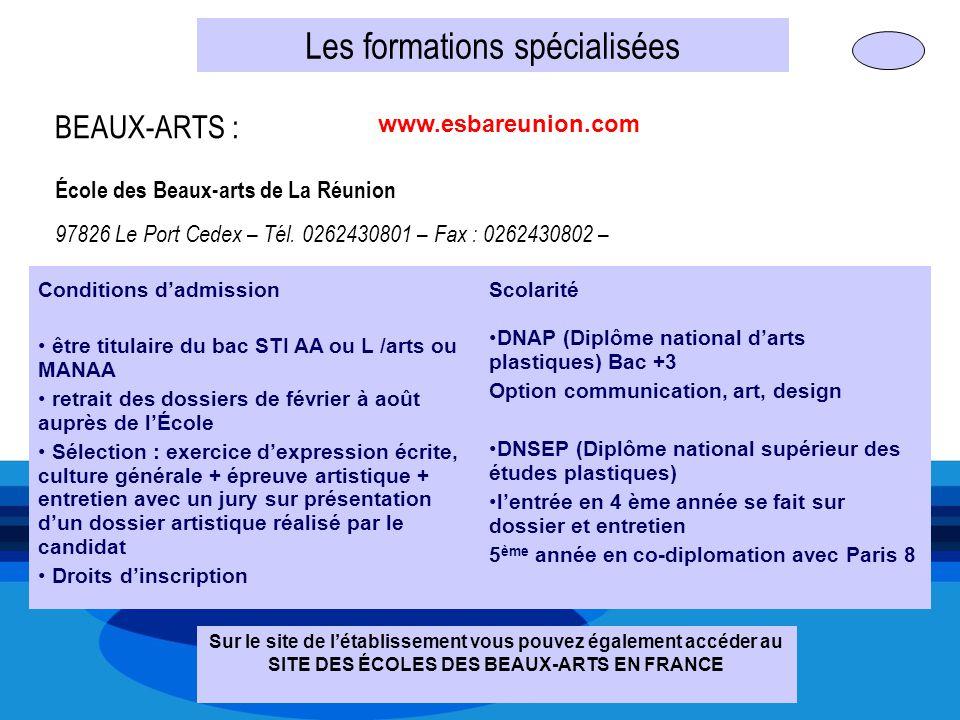 Les formations spécialisées BEAUX-ARTS : École des Beaux-arts de La Réunion 97826 Le Port Cedex – Tél. 0262430801 – Fax : 0262430802 – Conditions dadm
